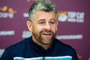 Stephen Robinson speaking to the press.