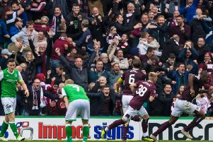 Hearts fans enjoyed their day at Easter Road. Picture: SNS