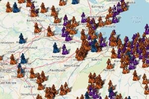 A section of map which shows where Scotland's accused 'witches' lived. It also shows where the women were detained and executed. PIC: Contributed.
