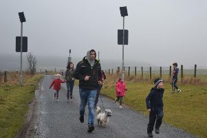 Parents and pets joined Arnage pupils on the Sport Relief Mile
