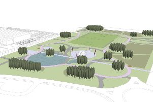 An artist's impression of the new park at Ravenscraig