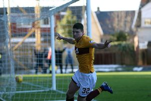 Jake Hastie celebrates heading Motherwell in front against Livingston on Saturday (Pic by Ian McFadyen)