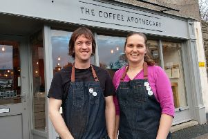 Jonny and Ali Aspden of The Coffee Apothecary outside their new Ellon cafe