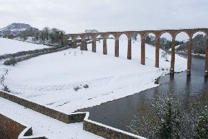 Leaderfoot Viaduct at the foot of the Eildons.