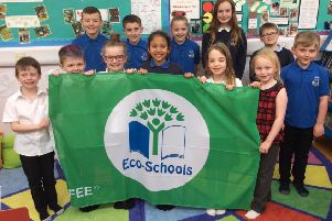 Tarves School's Eco Committee with their Eco-Schools Green Flag