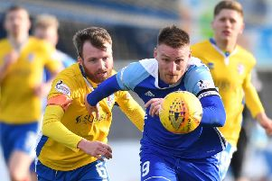SCOTTISH LEAGUE 2'PETERHEAD V COWDENBEATH'(DUNCAN BROWN)''PETERHEAD'S RORY MCALLISTER GETS AWAY FROM KYLE MILLER