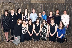 Paul Wilson with present Drumoak staff at his retirement dinner. Picture: Logan Sangster