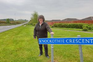 Councillor Gillian Owen at the Knockothie Crescent junction with the A948