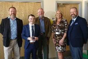 David Duguid, Cameron Findlay (nephew of Shirley), Tom Mason, Councillor Dianne Beagrie and Councillor Mark Findlater inside the centre