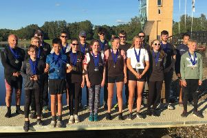 The medal-strewn Linlithgow contingent are pictured after last weekends event at Strathclyde Park (Submitted pic)