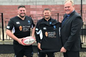 Berwick RFC first team captain Tom Jackson, first team forwards coach Paul Pringle and MSP commercial director Andy Hindhaugh.