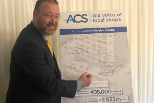 David Duguid backing the local shops campaign at a reception in Westminster this week.