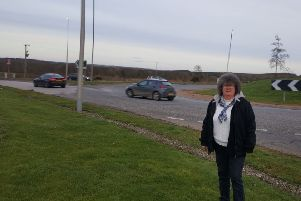 Ellon and District councillor Gillian Owen pictured at the Ellon roundabout