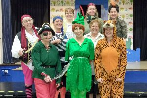 Cast members of Ellon Parish Church Drama Group rehearse for this year's show