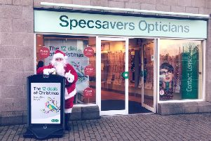 Santa outside Inverurie Specsavers