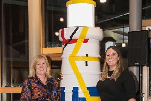 Dr Colette Backwell and Fiona Fernie with the lighthouse