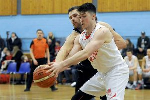 16-02-2018. Picture Michael Gillen.GRANGEMOUTH. Grangemouth Sports Complex. Sony Centre Fury v Pleasance Basketball Club. Jordan Ferguson 11.
