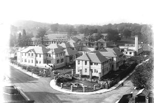 Falkirk and District Infirmary. View from the Erskine Church tower of the hospital with construction almost completed but prior to its royal opening. 1931.