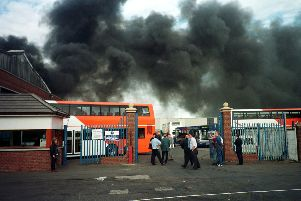 Back in 1997 - Walter Alexander Coach depot on fire after an explosion in their stores at Camelon, Falkirk.