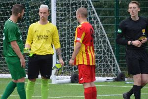 St Roch's keeper Aaron Griffiths was red-carded during Saturday's derby at Rossvale (pic by HT Photography/@dibsy_)