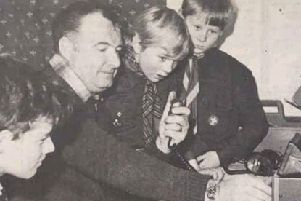 Mr Bill Wright from Larbert is pictured coaching local Scouts in radio broadcasting