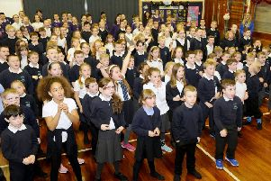 Shieldhill Primary youngsters pictured during rehearsals for their Rookie Rockstars concert. Picture: Michael Gillen