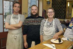 Assistant manager Ross Reid, barista David Reid and manager Iris Deiss at Damascus Drum in Hawick.