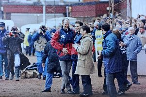 Ian Binning and Gordon Buchanan with Stenhousemuir FC manager Terry Christie oversaw Stenhousemuir beating Aberdeen 2-0 in the fourth round of The Scottish Cup 1995.