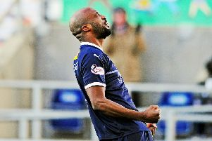 William Edjenguele celebrates his debut goal for Falkirk (Pic by Michael Gillen)