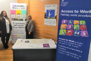 Mhairi MacDonald, office manager at Forth Valley Community Focus CIC with Jean Cordiner, DWP employer adviser at the newly opened Falkirk Employability Hub in Callendar Square