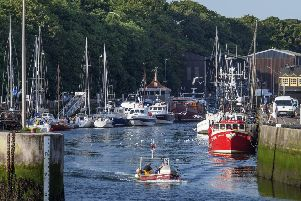 Eyemouth boat yard in the background will become a focal point on the busy harbour.