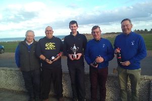 Left to right: Brian Hunter (Vice Captain), George Cessford (Captain), Barry Nelson (Colin Bain Knockout Winner), Ivor Aitchison (Colin Bain Knockout Runner Up), David Gordon (nearest the pin).