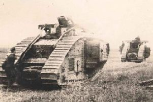 The HLI battalion in which Alexander Elder served fought alongside early tanks like these Mark V's. pictured at Amiens in 1918.