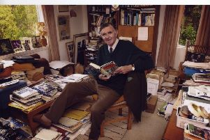 Glory hole...Bill McLaren in the study at his Hawick home which was a veritable Aladdin's Cave of material.