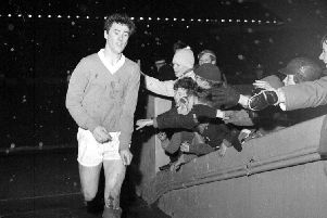 Rangers v Raith Rovers at Ibrox - Rangers player Jim Baxter leaves the field at the end of the game in 1962.