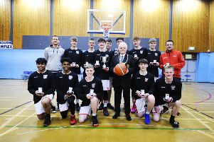 Falkirk Fury Junior Men v Glasgow Rens; Grangemouth; Sports Complex; Falkirk District; Scotland;   With Provost Billy Buchanan and league championship trophy. Pic: Alan Murray.