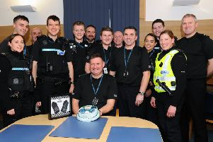 PC Arthur McInnes (front) was wished well for the future by colleagues in the force
