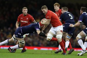 Bradley Davies of Wales charges upfield during the NatWest Six Nations match between Wales and Scotland at the Principality Stadium on February 3, 2018  (Photo by David Rogers/Getty Images)