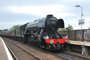 Flying Scotsman at Glenrothes with Thornton Station.