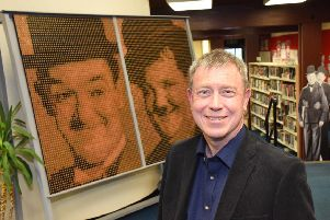 Alistair Young, a relative of the late Larbert actor, James Finlayson, unveiled the Laurel and Hardy coin mosaic in Bo'ness Library