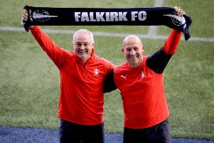 Falkirk boss Ray McKinnon and assistant Darren Taylor. (picture: Michael Gillen)