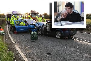 Connor Young, inset, caused the crash.