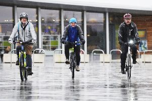 Despite the rain, the first meander cycle to the Kelpies was a big hit with Alan Dick, George Callahan and Andy Borland. (Pictures: Alan Murray)