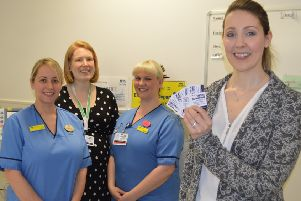 Dr Macmillan (front) is pictured with (left to right) NHS Forth Valley Charge Nurse Kirsty Meikle, Alison Reed, NHS Forth Valley Tissue Donation Co-ordinator and NHS Forth Valley Staff Nurse, Ashleigh McAllister.