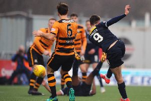 Jarvis came on at half-time vs Alloa and had this late effort to level the game. (Michael Gillen)