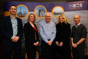 Jon Miles (recruitment consultant with TRS), Cheryl Leonard (recruitment manager with Morson), Nigel Falcon (New Energy Plant project manager with Ineos), Jacquie McArthur of Falkirk Council Economic Development and David East, Ineos communications manager