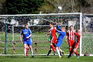 Corner kick action in the Peebles goal mouth (ALL PICS: Alwyn Johnston)