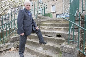 Councillor Davie Paterson inspecting the Green Terrace steps.