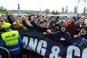 Protests took place in the south stand and front door of Westfield. Picture: Michael Gillen.