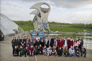 Flashback to 2015, showing Scottish Waterways Trust's first ever Canal College graduates at the Falkirk Wheel.
